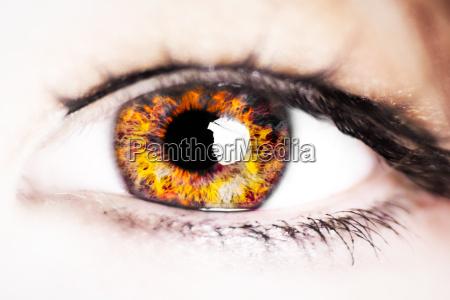 donna occhio organo fuoco incendio ciglia