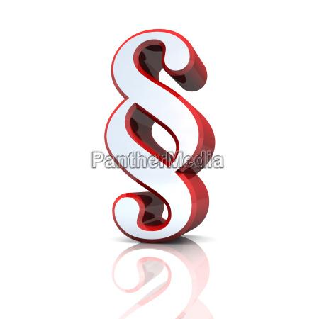 3d paragrafenzeichen argento rosso