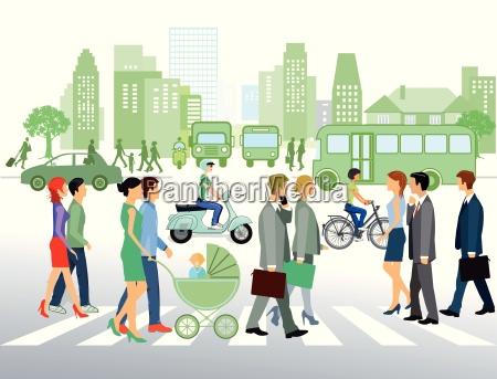 paesaggio urbano con la gente che