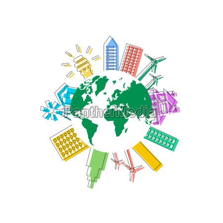 icone di ecologia verde vettoriale vettoriale